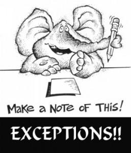 exceptions - elephant